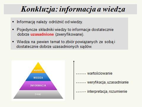 Informacja a wiedza
